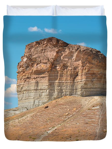 Pilot Butte Rock Formation II Duvet Cover by Donna Greene