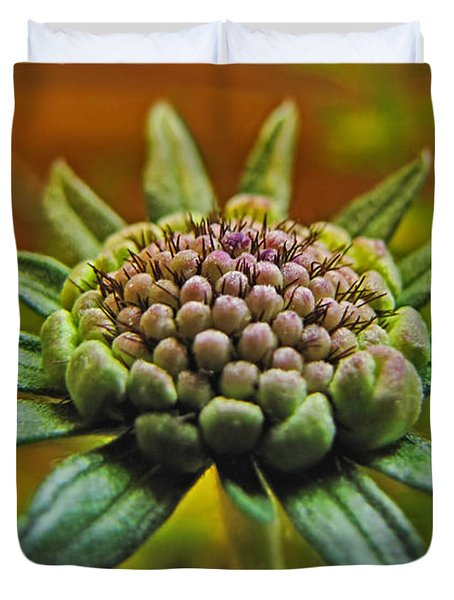 Duvet Cover featuring the photograph Pinchshin Bud by Debbie Portwood