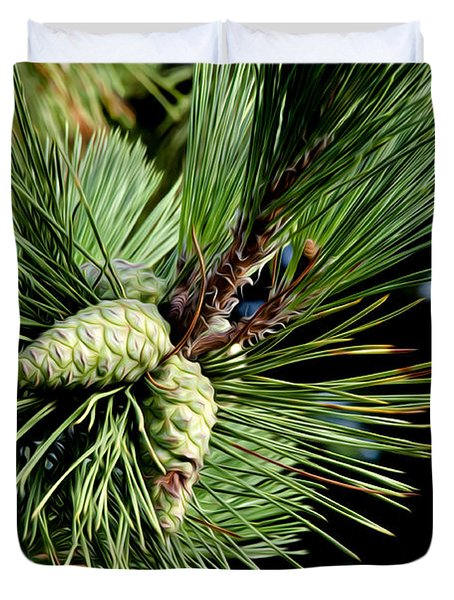 Pine Cones In A Pine Tree Duvet Cover by Bill Cannon