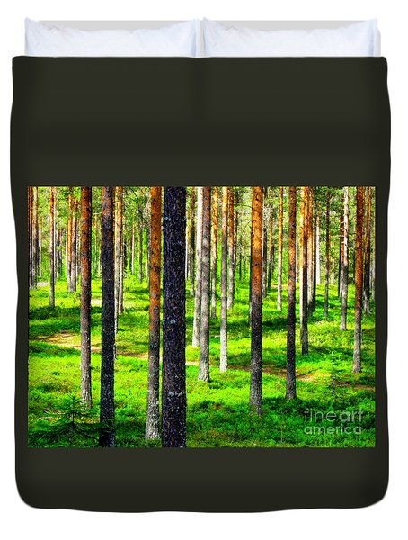 Pine Forest Duvet Cover by Pauli Hyvonen