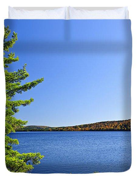 Pine Tree At Lake Shore Duvet Cover