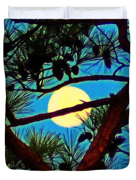 Pine Tree Moon Duvet Cover