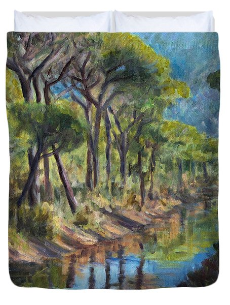 Pine Wood Reflections Duvet Cover by Marco Busoni