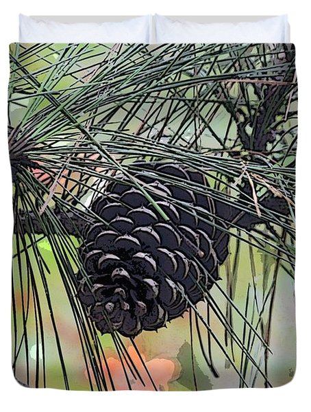 Duvet Cover featuring the photograph Pinecone by Donna  Smith