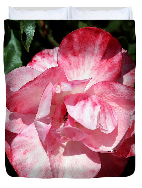 Pink And White Rose Duvet Cover