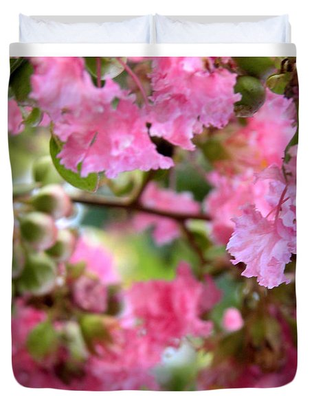 Duvet Cover featuring the photograph Pink Blooms by Nada Meeks
