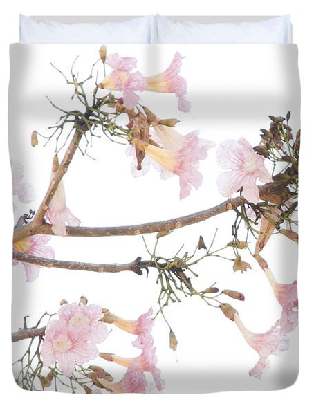 Pink Blossoms In Panama Duvet Cover