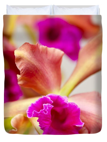 Pink Cattalaya Orchid Duvet Cover by Ron Dahlquist