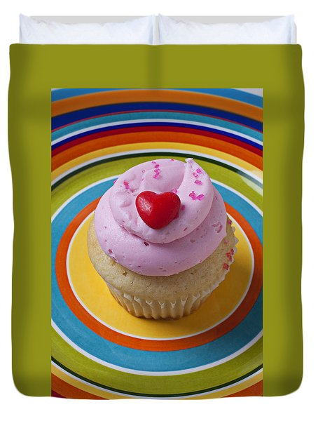 Pink Cupcake With Red Heart Duvet Cover by Garry Gay