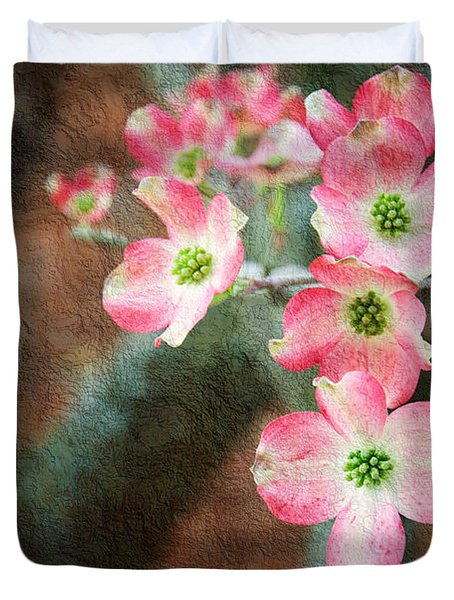 Pink Dogwood Cascade Duvet Cover by Andee Design