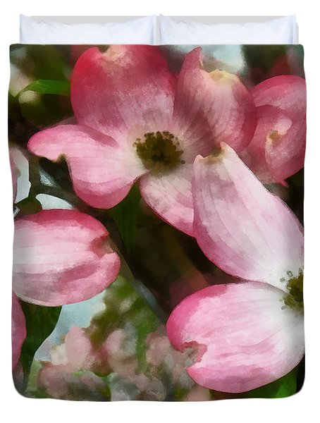 Pink Dogwood Closeup Duvet Cover by Susan Savad