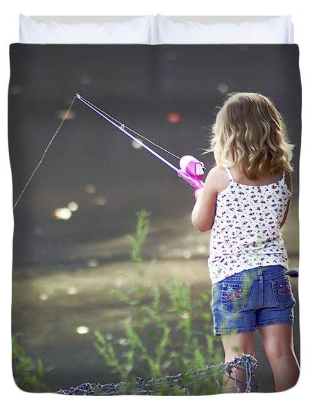 Pink Fishing Rod Duvet Cover