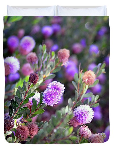 Duvet Cover featuring the photograph Pink Fuzzy Balls by Clayton Bruster