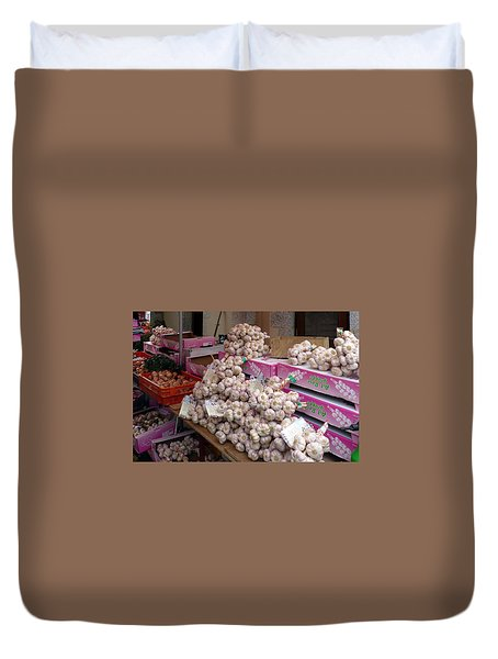 Duvet Cover featuring the photograph Pink Garlic by Carla Parris