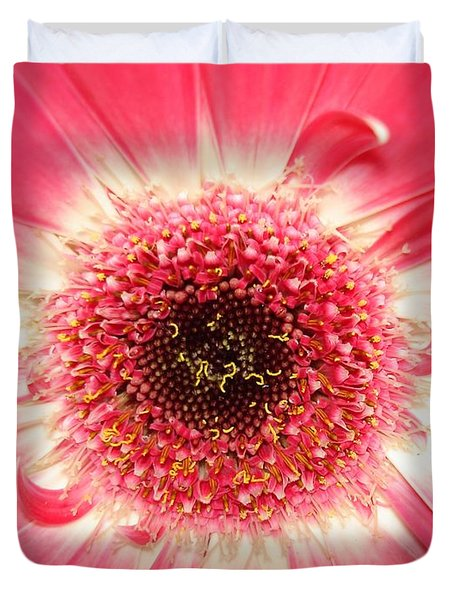 Duvet Cover featuring the photograph Pink Gerbera Daisy Close-up by Kerri Mortenson