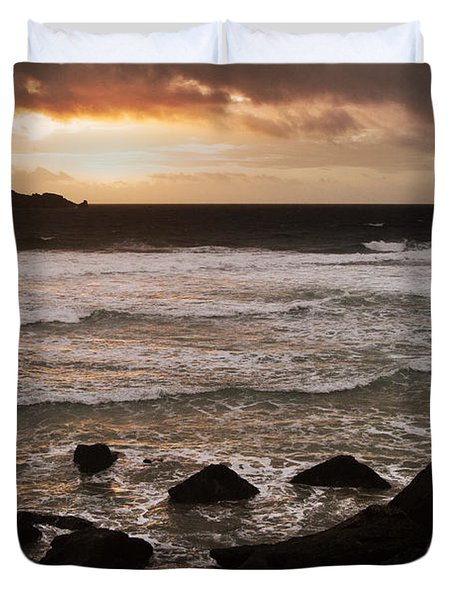 Pink Granite Coast At Sunset Duvet Cover by Heiko Koehrer-Wagner