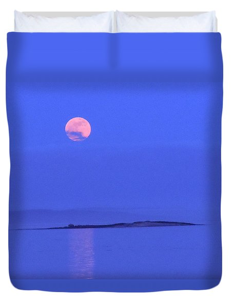 Duvet Cover featuring the photograph Pink May Moon by Francine Frank