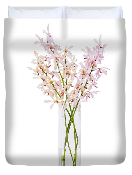 Pink Orchid In Vase Duvet Cover by Atiketta Sangasaeng