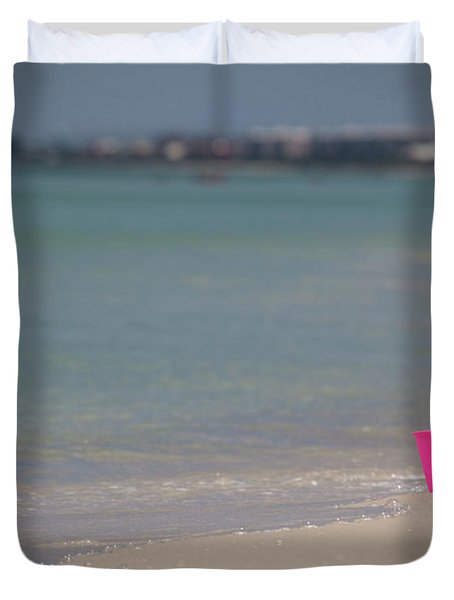 Pink Pail Duvet Cover by Nick  Shirghio