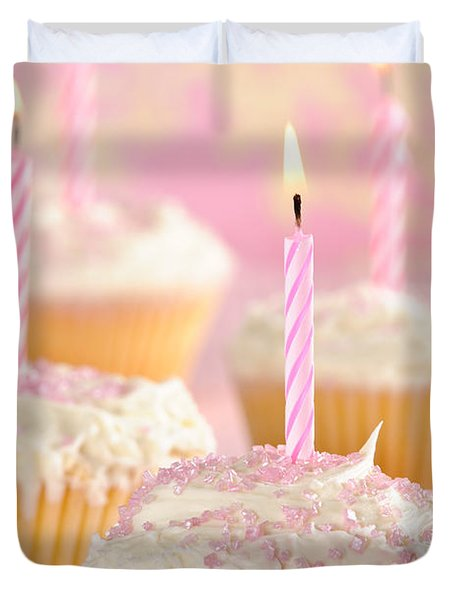 Pink Party Cupcakes Duvet Cover by Amanda Elwell