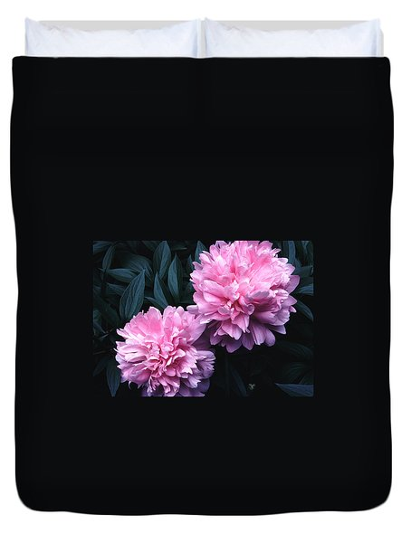 Duvet Cover featuring the photograph Pink Peony Pair by Tom Wurl