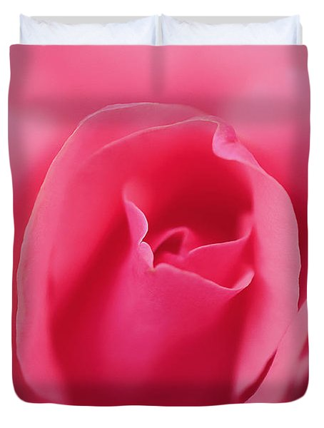 Pink Precious Powerful Rose Duvet Cover by Clayton Bruster