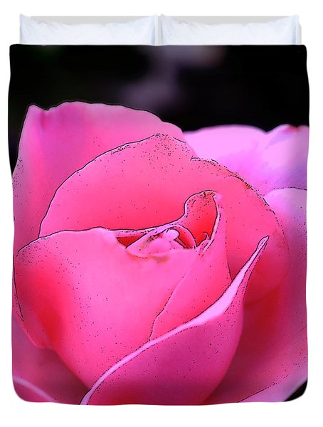 Duvet Cover featuring the photograph Pink Rose Day by Clayton Bruster