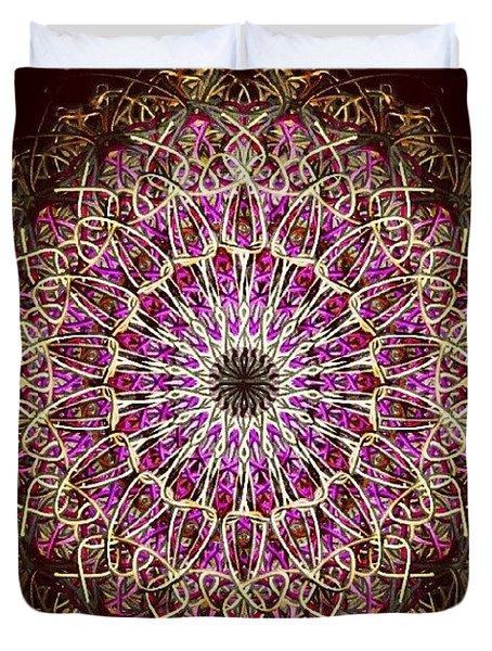 Pink Sun Mandala Duvet Cover