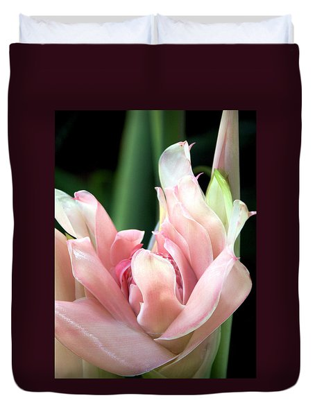 Pink Torch Ginger Duvet Cover by Jocelyn Kahawai