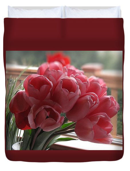 Duvet Cover featuring the photograph Pink Tulips In Vase by Katie Wing Vigil