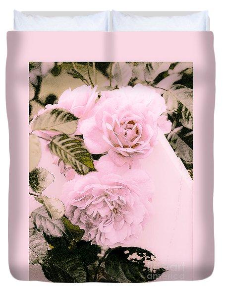Pink Vintage Roses Duvet Cover