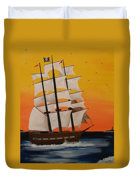 Pirate Ship At Dawn Duvet Cover by Paul F Labarbera