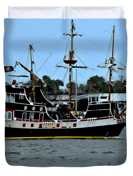 Pirate Ship Of The Matanzas Duvet Cover by DigiArt Diaries by Vicky B Fuller