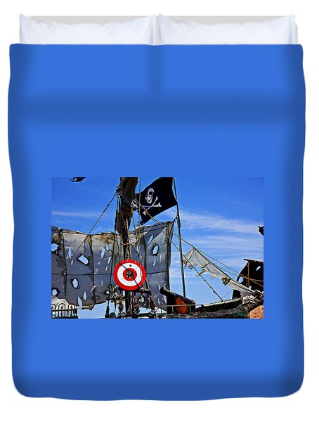 Pirate Ship With Target Duvet Cover by Garry Gay