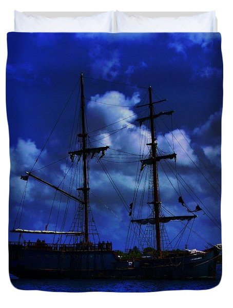 Pirate's Blue Sea Duvet Cover by Patrick Witz