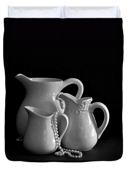 Pitchers By The Window In Black And White Duvet Cover by Sherry Hallemeier