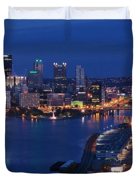 Pittsburgh In Blue Duvet Cover
