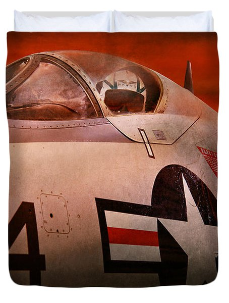 Plane - Pilot - Airforce - Go Get Em Tiger  Duvet Cover by Mike Savad