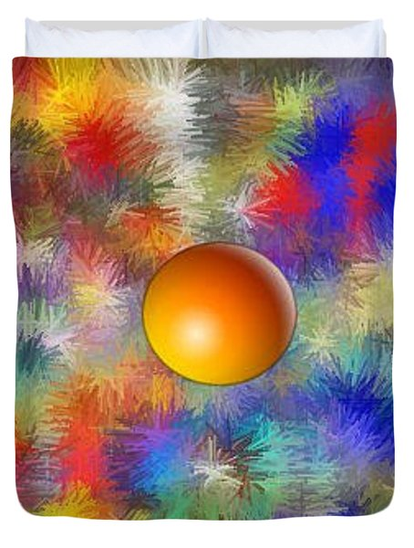 Duvet Cover featuring the digital art Planet Stand Out by Alec Drake