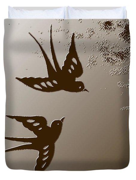 Playful Swalows Digital Art Duvet Cover by Georgeta  Blanaru