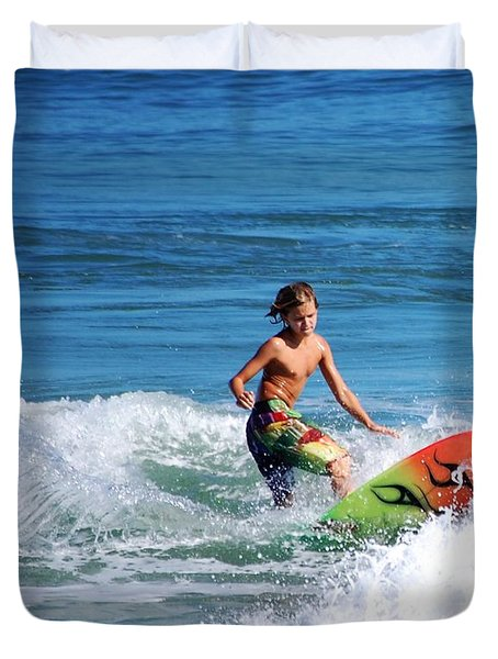 Playing In The Surf Duvet Cover by David Lane