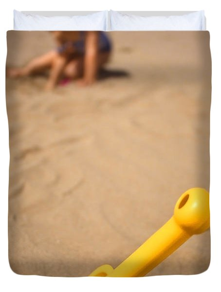 Playtime At The Beach Duvet Cover by Meirion Matthias