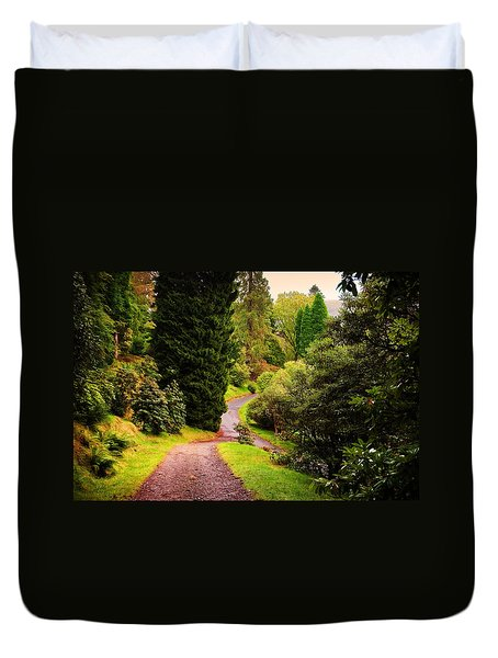 Pleasant Path. Benmore Botanical Garden. Scotland Duvet Cover by Jenny Rainbow