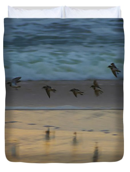 Plovers At Play On A Stormy Morning Duvet Cover
