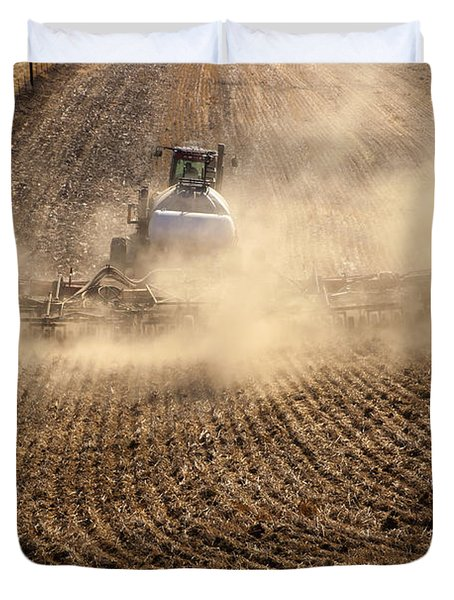 Plowing The Ground Duvet Cover by Mike  Dawson