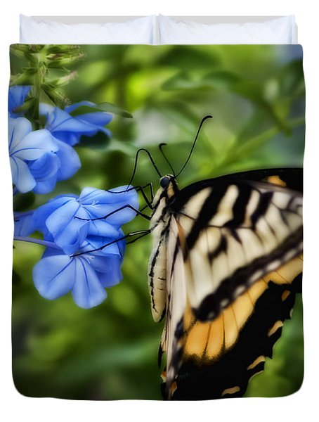 Plumbago And Swallowtail Duvet Cover by Steven Sparks