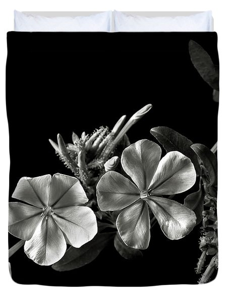 Plumbago In Black And White Duvet Cover