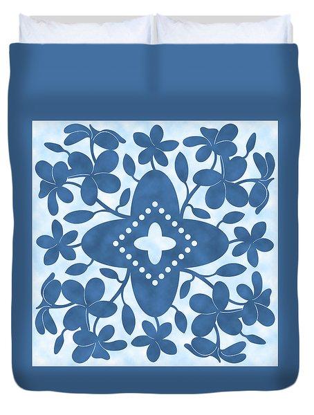 Plumeria Hawaiian Quilt Block Duvet Cover