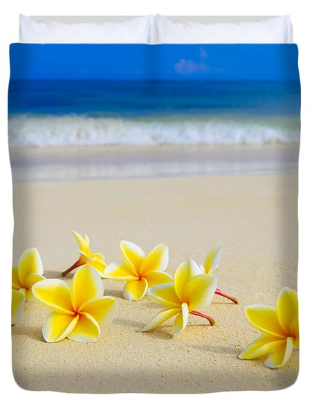 Plumerias On Beach II Duvet Cover
