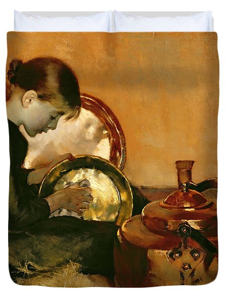 Polishing Pans  Duvet Cover by Marianne Stokes